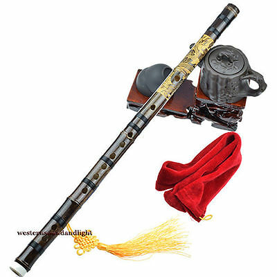One-piece style Dragon Carved Chinese Bamboo Flute dizi + Gift Pack