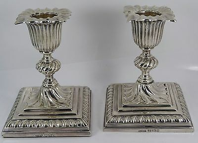 Pair of VICTORIAN Loaded Sterling Silver Candlesticks Hm 1895 James Dixon & Sons