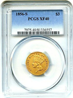 1856-S $3 PCGS XF40 - Low Mintage S-Mint Princess Gold - 3 Princess Gold Coin