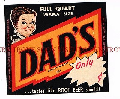 "Scarce unused Dad's Root Beer ""Mama Sized"" label Tavern Trove"