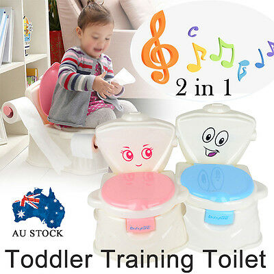 Music Kids Children Baby 2 in1 Toddler Training Toilet Potty Seat Trainer Chair