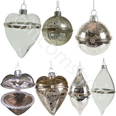 6 X Heart Shape Hinged Glass Christmas Tree Baubles With