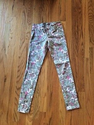 Girl's Tractr Abstract Print Skinny Jeans Size 10
