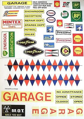 Model Garage Sticker Set 39 Assorted Posters Signs Including Esso Shell