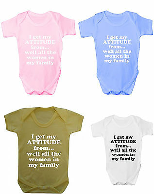 I Get My Attitude From... - Cute Baby-Grow - Various Colours - Great Gift