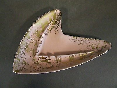 Vintage Mid Century Pink & Gold Speckle Shawnee 205 Atomic Boomerang Ashtray