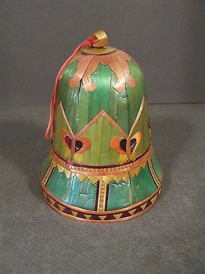 Butterfly Theme Plastic Chinese Bell Decorated In Thin Wood Overlay