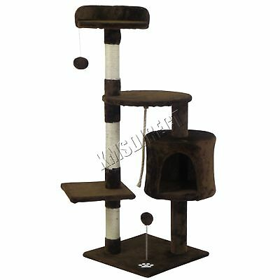 FoxHunter Kitten Cat Tree Scratching Post Sisal Toy Activity Centre Brown CAT806