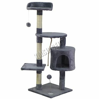 FoxHunter Kitten Cat Tree Scratching Post Sisal Toy Activity Centre Grey CAT806