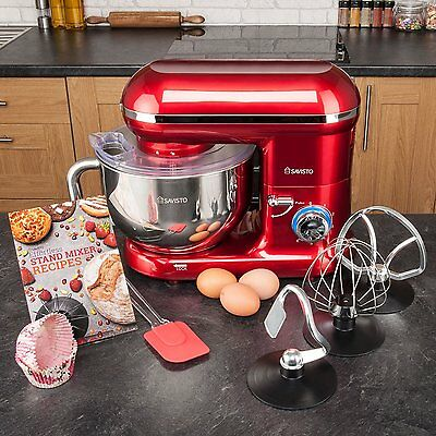 Savisto 6 Speed Red Food Stand Mixer with 5.5L Bowl/Dough Hook/ Whisk/Beater