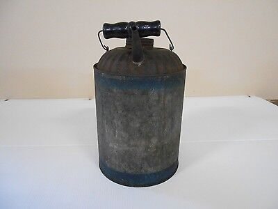 Antique Vintage Metal One Gallon Gas Can With Two Painted Blue Stripes
