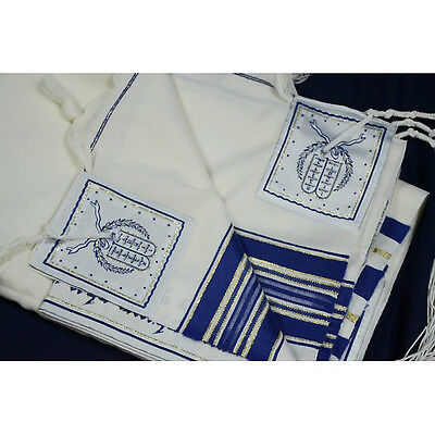 WOOL TALLIT WITH GOLD & BLUE STRIPES -Made in Israel Jewish Prayer Shawl SIZE 40