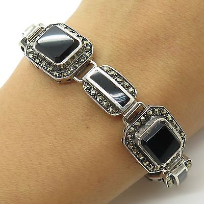 925 Sterling Silver Large Natural Black Onyx Marcasite Gemstone Link Bracelet 7""