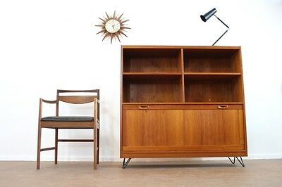 Vintage 1970's Teak Danish Bookcase/display Cabinet & Hairpin Legs