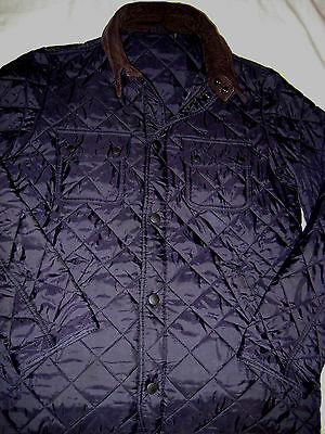 Barbour Soft Corduroy Collar Quilted Insulated Emboidered Logo Snap Jacket- M