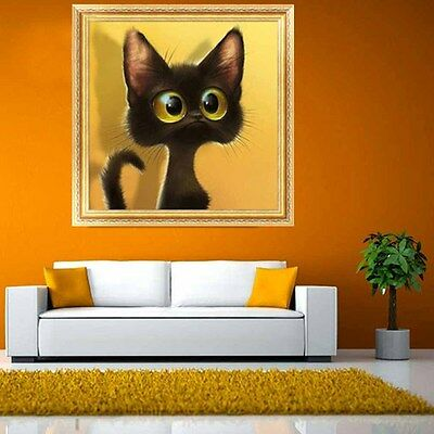 5d home wall decor diamond painting lovely big eyes cat for Home decor 5d