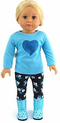 "Blue Top w/Heart & Flower Leggings Pant Set fits 18"" American Girl Doll Clothes"