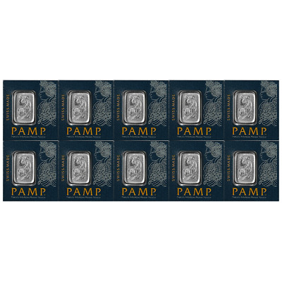Lot of 10 - 1 Gram Pamp Suisse Platinum Bar .9995 Fine Multigram Fortuna