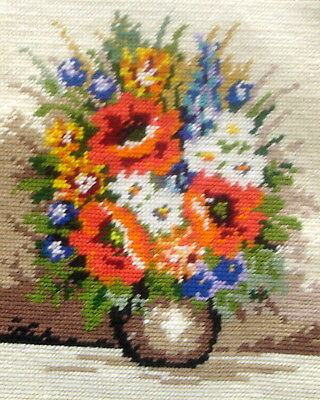 Completed Tapestry Cross Stitch Picture Unframed Poppies & Daisies