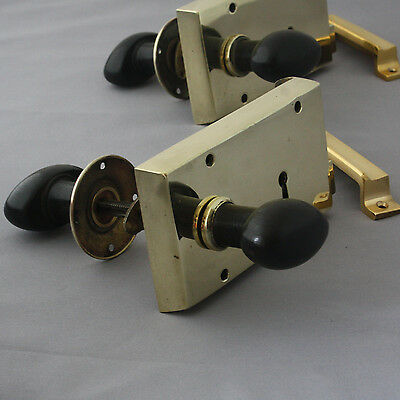 Edwardian Brass Rim Lock and Oval Handles
