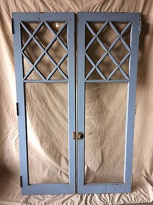 Pair Antique Cabinet Pantry Cupboard Casement Door Diamond Window 1842-16