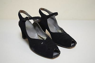 Vintage 1930s 40s HERRON'S Cantilever Black Nubuck Suede Dress Sandals Pumps 7.5