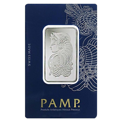 1 Troy oz Pamp Suisse Rhodium Bar .9995 Fine In Assay