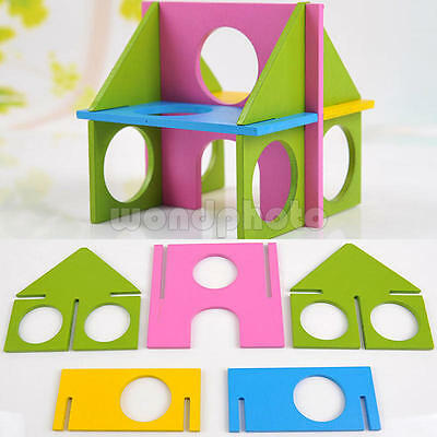 Mouse Rat Hamster Wood Colorful Fun Gym Playground Play House Exercise Toy