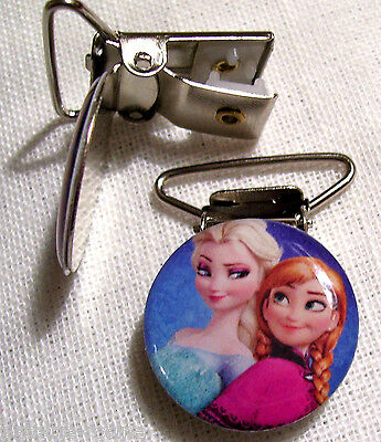 C04 - Clip Pince Bretelle, Crocodile, Attache Tétine- Anna Elsa Reine Des Neiges