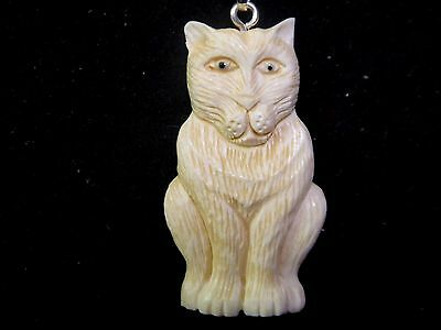 Cat Doubled Sided Hand Carved Water Buffalo Bone Silver Tone Pendant Necklace