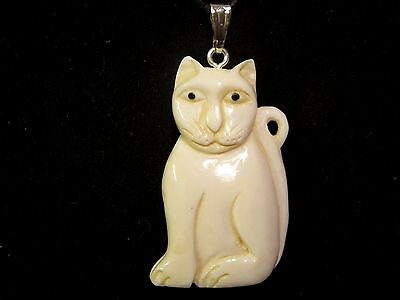 Cat Double Sided 3D Hand Carved Water Buffalo Bone Silver Tone Pendant Necklace