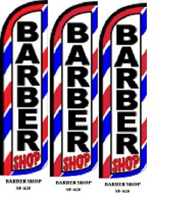 Barber Shop King Size Windless 38 x 138 in Polyester Swooper Flag 3 pk