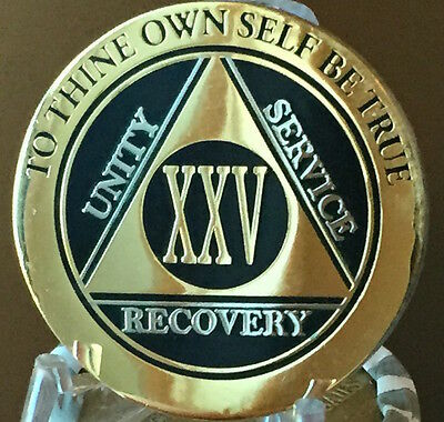 25 Year AA Medallion Black Gold Plated Bi-Plate Alcoholics Anonymous Chip Coin