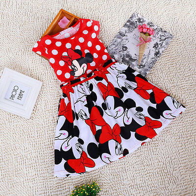 Baby Girl Mickey Minnie Mouse Cartoon Summer Red Polka Dot Sleeveless Kids Dress