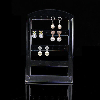 24 Holes Jewelry Earring Show Case Plastic Display Rack Stand Holder Organizer