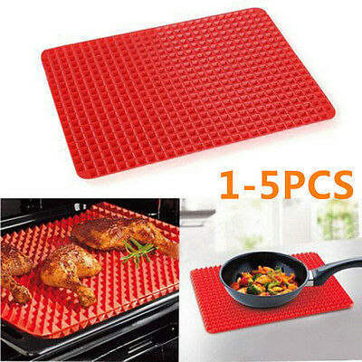 1-5X Silicone Pyramid Pan Baking Mat Mould Cooking Sheet Oven Liner Tray GTHOT