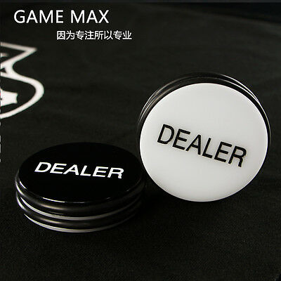 Hot Sale Dealer Button 2 Sided Black & White Texas Hold'em 3inch Acrylic Poker