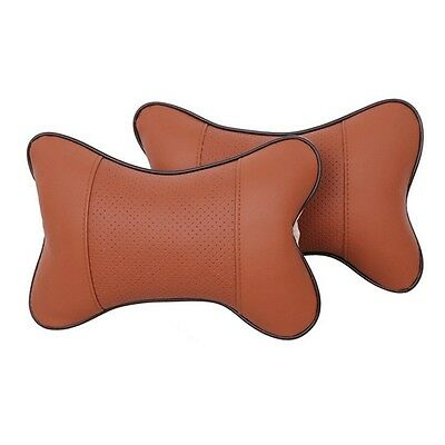 1Pc Car Genuine Leather Neck Bone Pillow Cushion Auto Headrest