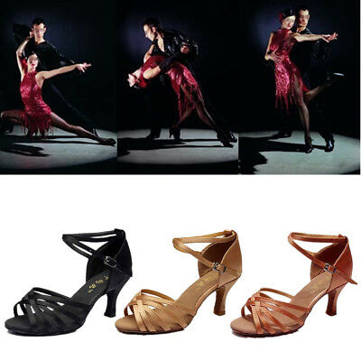Women Girls Modern Ballroom Latin Tango Dance Dancing Stain Shoes Heeled Salsas