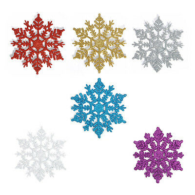12Pcs New Glitter Snowflake Christmas Ornaments Xmas Tree Hanging Decoration
