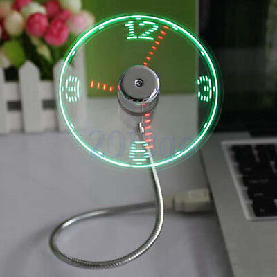 Flexible LED Clock Mini USB Ventilateur Horloge Refroidisseur Fan Pour Laptop HG