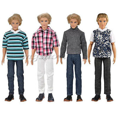3 Sets Doll Clothes Casual Wear Shirt Pants Dating Outfit for Barbie Ken Dolls