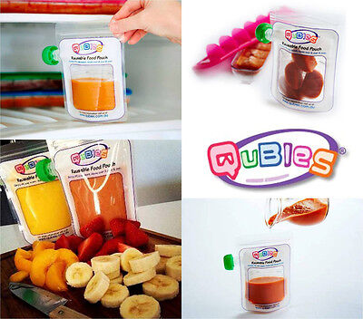 Qubies Reusable Food Pouches (Pack of 10) | Baby & Toddler | BPA Free