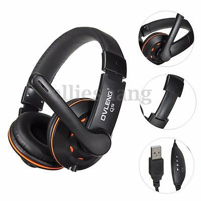 Nuovo Usb Jack Stereo Cuffie Headphone Headset+ Microfono Per Pc Laptop Computer
