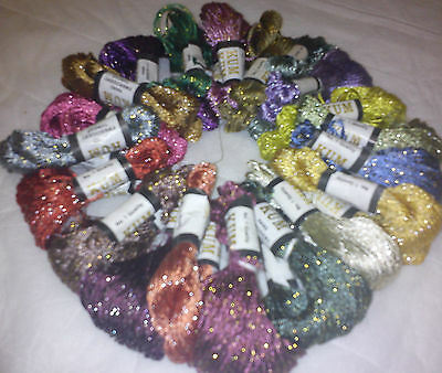 20 Skeins Large Silk Stranded   Glitter Twisted Embroidery Threads Skiens