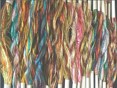 20 Skeins Large Silk Stranded Multi Coloured  Embroidery Threads