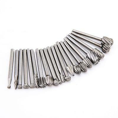 20Pcs Shank HSS Router Grinding Burr Drill Bits Sets For Rotary Tools 3mm