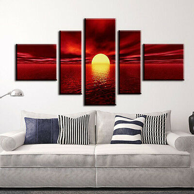 5PCS Modern Art Oil Painting Canvas Print Wall Unframed View Pictures Home Decor
