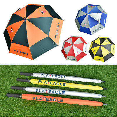 Double Canopy Golf Umbrella Anti-UV Windproof Vented Canopy Fibreglass Frame New