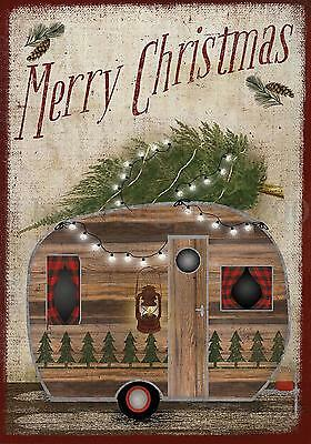 Merry Christmas Camper Garden Flag Holiday Banner  28'' x 40''/12.5'' x 18'' NEW
